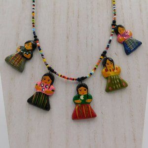 Mexican Folk Art Style 21″ Doll Necklace
